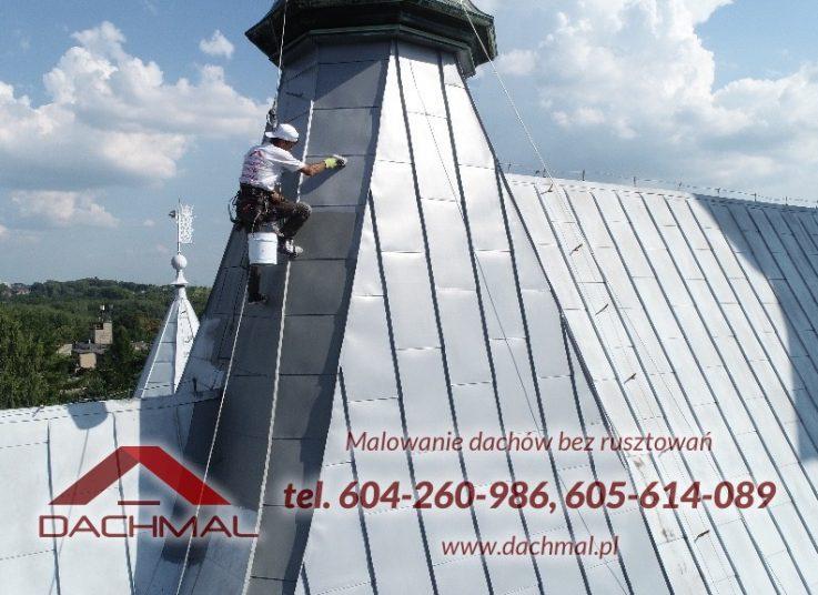 ręczne malowanie dachu kościoła - dzwonnica