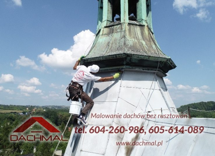 ręczne malowanie dachu kościoła - wieża